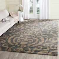 "Safavieh Florida Shag Ornate Grey/ Beige Damask Area Rug - 8'6"" x 12'"
