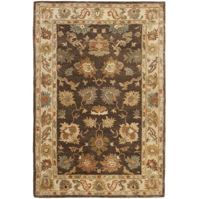 Safavieh Handmade Zeigler Brown/ Ivory Hand-spun Wool Rug (4' x 6')