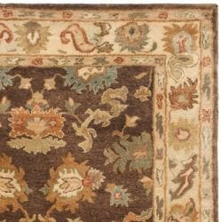 Safavieh Handmade Zeigler Brown/ Ivory Hand-spun Wool Rug (4' x 6') - Thumbnail 1