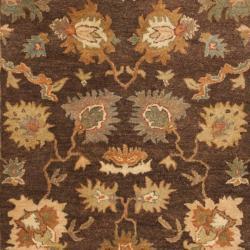 Safavieh Handmade Zeigler Brown/ Ivory Hand-spun Wool Rug (4' x 6') - Thumbnail 2