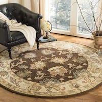 Safavieh Handmade Zeigler Brown/ Ivory Hand-spun Wool Rug - 8' x 8' Round