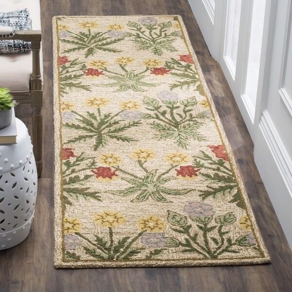 "Safavieh Handmade Blossom Beige Pure-Wool Rug - 2'3"" x 8'"