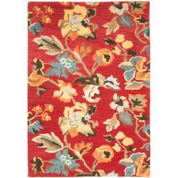 Safavieh Handmade Blossom Red Wool Rug (4' x 6')