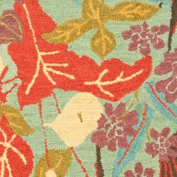 Safavieh Handmade Blossom Blue Wool Rug (3' x 5') - Thumbnail 2