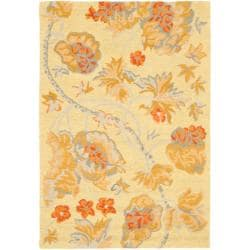 Safavieh Handmade Blossom Beige Wool Rug with Cotton Canvas Backing (4' x 6')