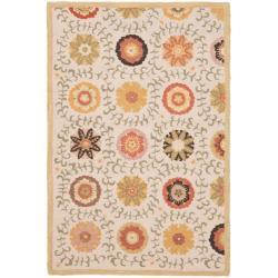 Safavieh Ivory Blossom Handmade Wool Area Rug (4' x 6')