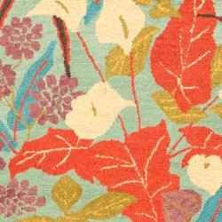 Safavieh Handmade Blossom Blue Wool Rug (4' x 6') - Thumbnail 2