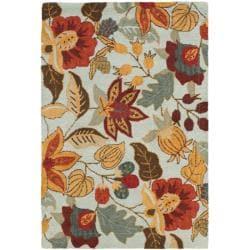 Safavieh Handmade Blossom Blue Wool Rug - 8'9 x 12' - Thumbnail 0