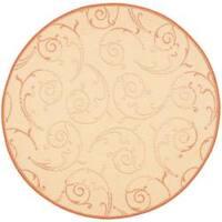 "Safavieh Oasis Scrollwork Natural/ Terracotta Indoor/ Outdoor Rug - 5'3"" x 5'3"" round"
