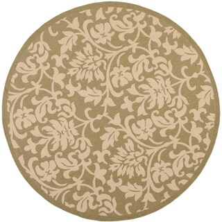 "Safavieh Seaview Olive Green/ Natural Indoor/ Outdoor Rug - 6'7"" x 6'7"" round"
