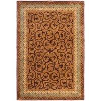 Safavieh Handmade Aubusson Scrolls Brown/ Blue Wool Rug (3' x 5')