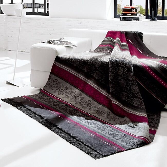 Bocasa Oleana Anthracite Woven Throw Blanket