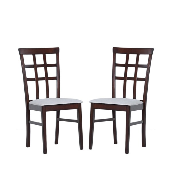 Warehouse of Tiffany Justin Light-Cappucino Dining Chairs with Gray Fabric-Covered Seat (Set of Two)