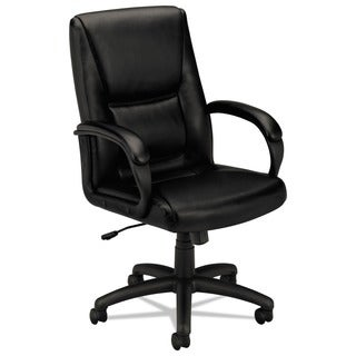 basyx by HON VL161 Series Black Leather Executive Mid-Back Chair