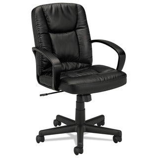 basyx by HON VL171 Series Black Leather Executive Mid-Back Chair