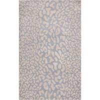 Hand-tufted Pale Blue Leopard Viterbo Animal Print Wool Area Rug - 12' x 15'