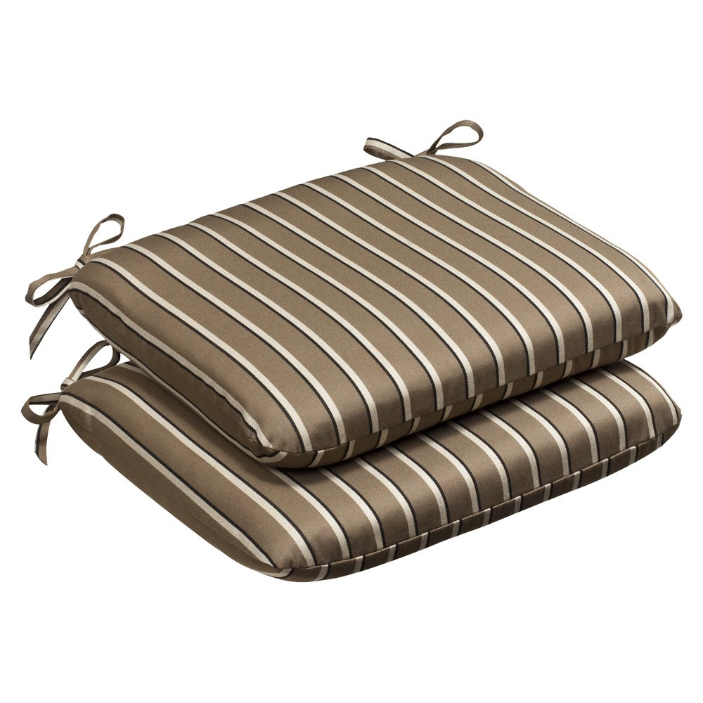 Pillow Perfect Outdoor Brown/Beige Striped Seat Cushions with Sunbrella Acrylic Fabric (Set of Two)