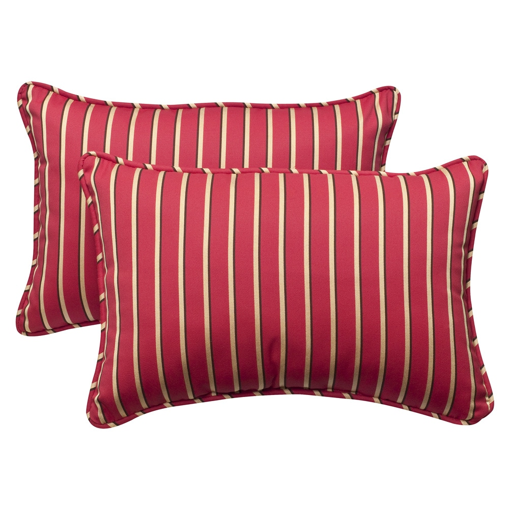 Pillow Perfect Outdoor Red/Gold Striped Rectangular Toss Pillows with Sunbrella Fabric (Set of Two)
