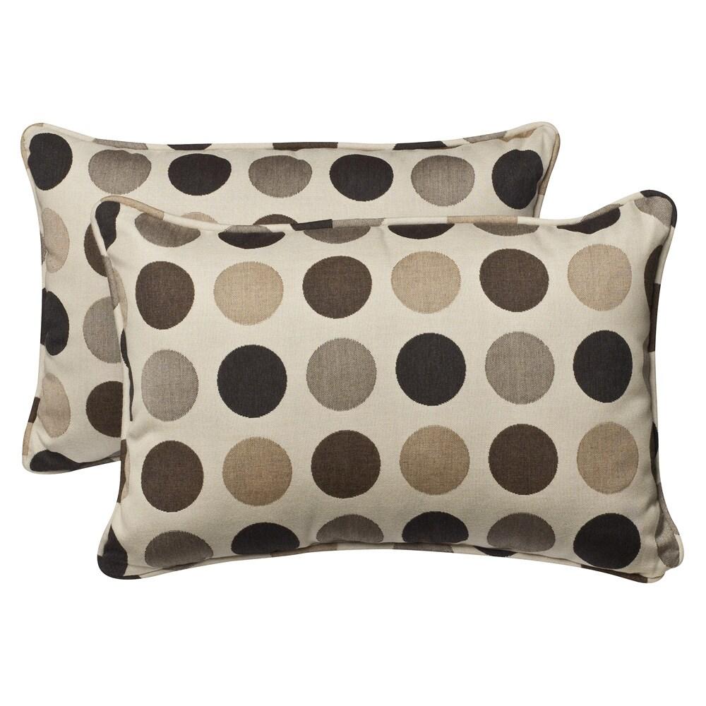 Pillow Perfect Outdoor Brown/ Beige Polka Dot Toss Pillows with Sunbrella Fabric (Set of 2)