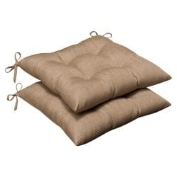 Pillow Perfect Outdoor Tan Textured Tufted Seat Cushions with Sunbrella Fabric (Set of 2)