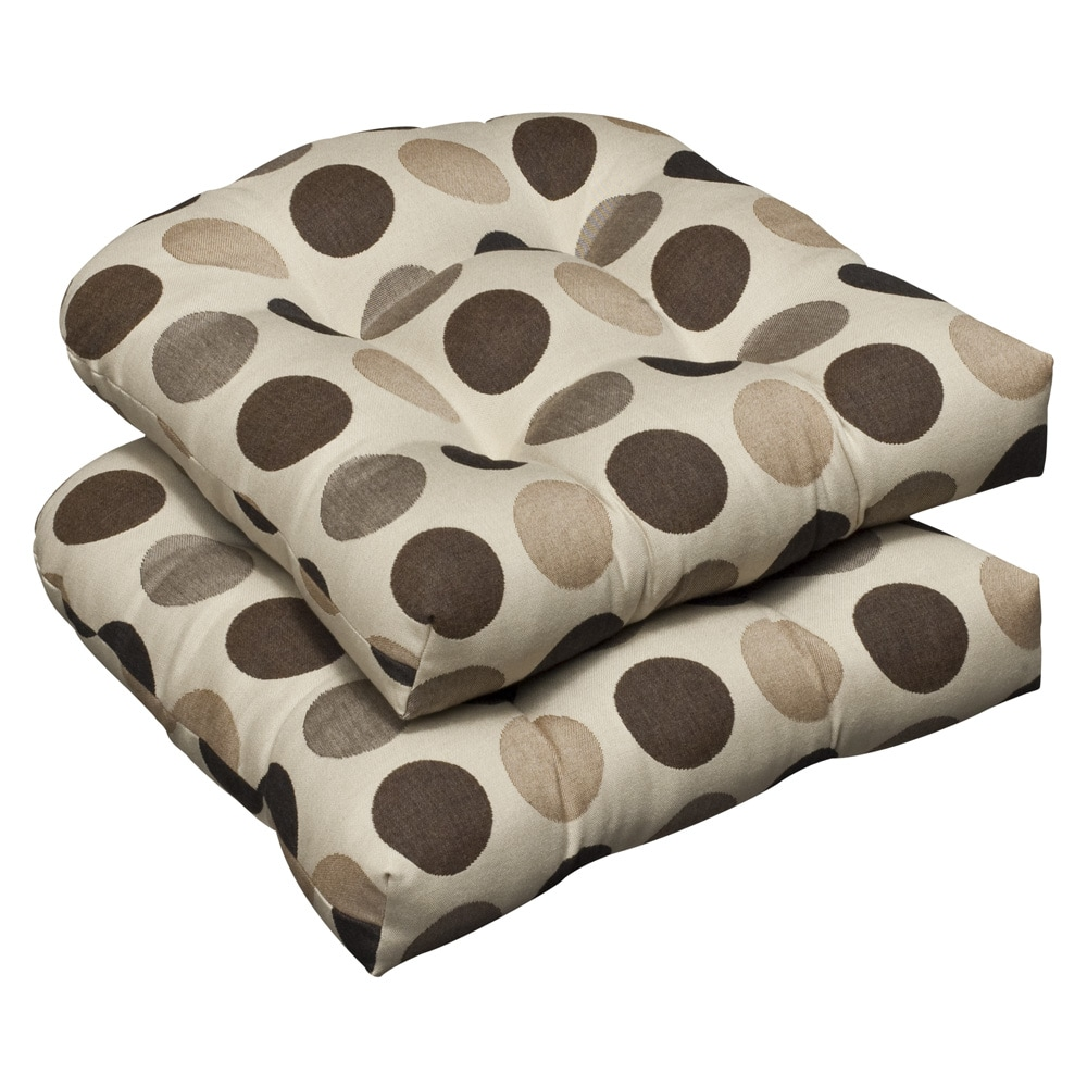 Pillow Perfect Outdoor Brown/ Beige Polka Dot Wicker Seat Cushions with Sunbrella Fabric (Set of 2)