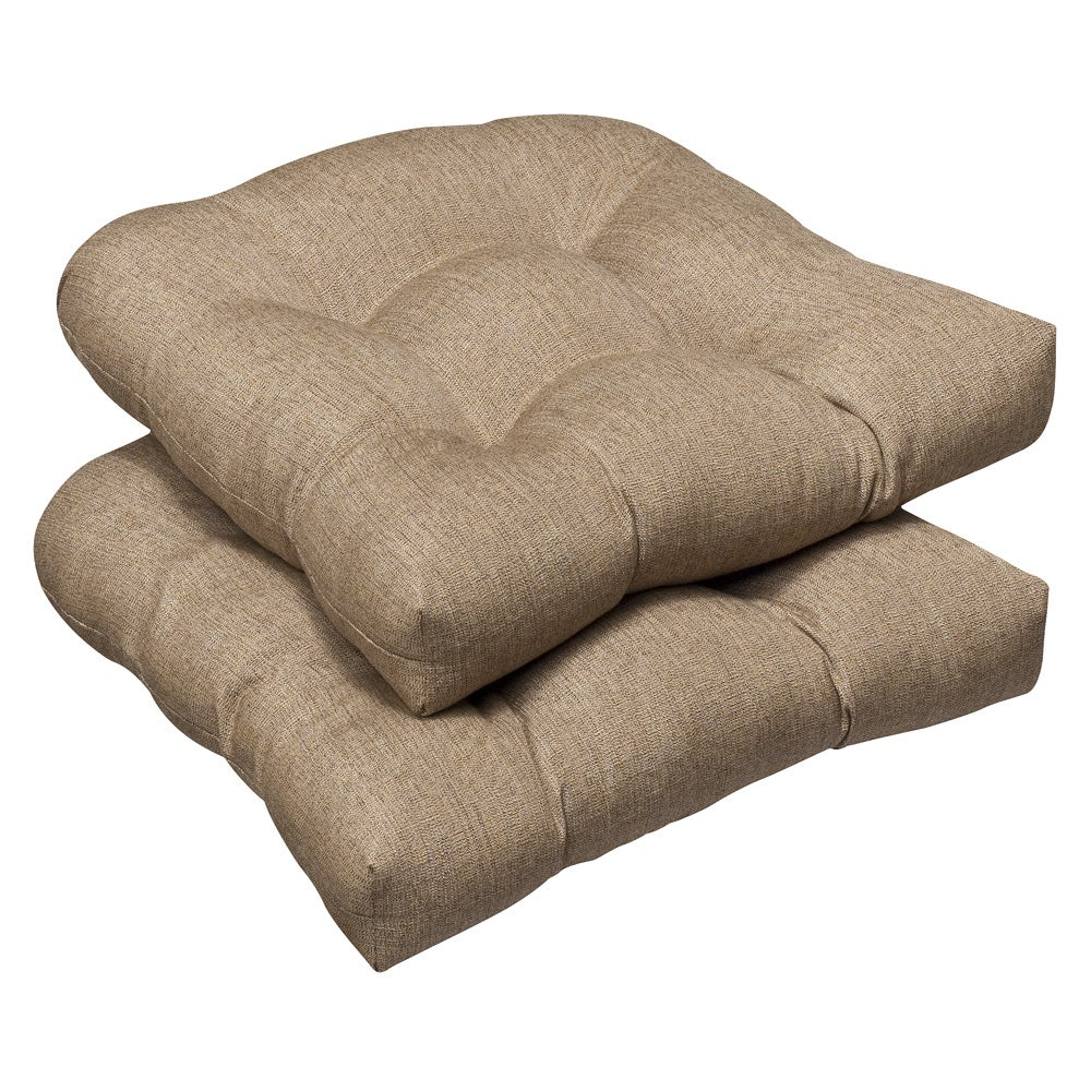 ... Tan Textured Wicker Seat Cushions with Sunbrella Fabric (Set of 2