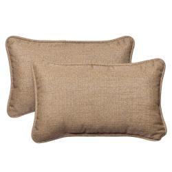 Pillow Perfect Fabric Tan Textured Rectangle Outdoor Toss Pillow Made with Sunbrella (Set of 2)