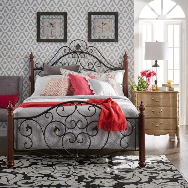 Madera Graceful Scroll Bronze Iron Metal King Bed by iNSPIRE Q Classic