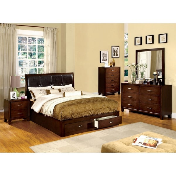 Furniture of America York Contemporary Cherry 5-piece Bedroom Set