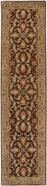 Hand tufted Traditional Calais Chocolate Floral Border Wool Rug (3' x 12')