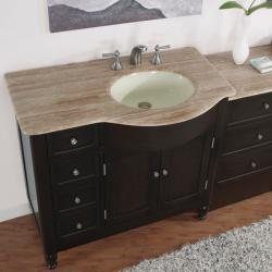 Silkroad Exclusive 58-inch Travertine Top Single Vanity