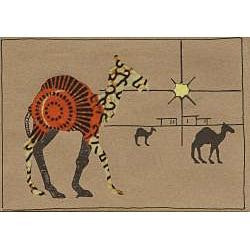 Set of 4 Camel Greeting Kitenge Fabric Cards (Kenya)