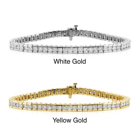 Auriya 5 carat TW Round Diamond Tennis Bracelet Channel-set 14k Gold - 7-inch