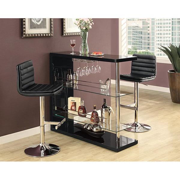 Black/ Chrome Metal Hydraulic Lift Barstool (Set of 2)