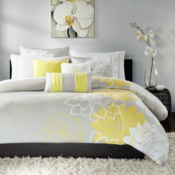 Madison Park Brianna Yellow 6 Piece Printed Duvet Cover Set. Opens flyout.