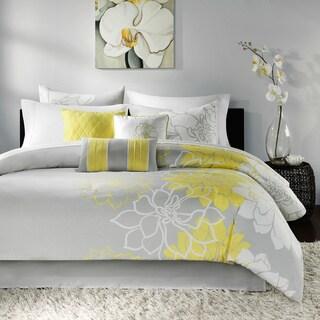 Madison Park Brianna Grey and Yellow Flower Print 7-Piece Cotton Comforter Set
