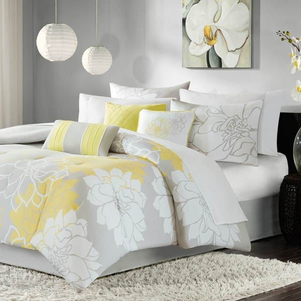 madison park brianna grey and yellow flower printed cotton comforter set free shipping today