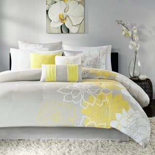 Madison Park Brianna Grey and Yellow Flower Print 7-Piece Cotton Comforter Set