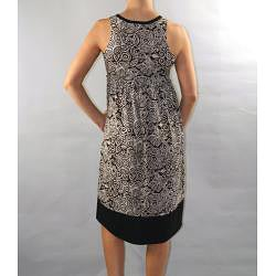 Institute Liberal Women's Black Printed Empire Waist Dress - Thumbnail 1