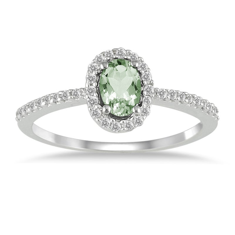 Marquee Jewels 10k White Gold Green Amethyst and 1/6ct TDW Diamond Ring (I-J, I1-I2)