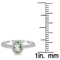 Marquee Jewels 10k White Gold Green Amethyst and 1/6ct TDW Diamond Ring (I-J, I1-I2) - Thumbnail 2
