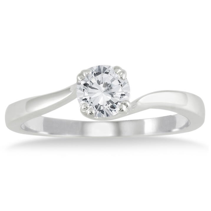 Marquee Jewels 10k White Gold 1/2ct TDW Diamond Solitaire Engagement Ring (I-J, I1-I2)