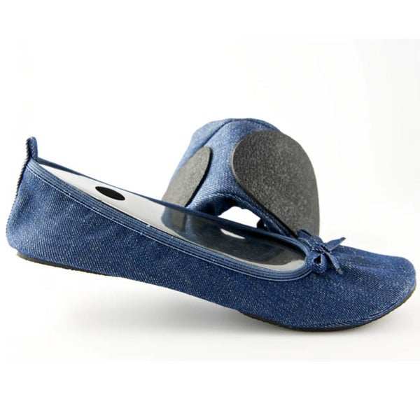 Fit in Clouds Blue-denim Unlined Semi-padded Round-toe Foldable Flats