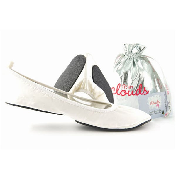 Fit In Clouds White Wedding Foldable Flats