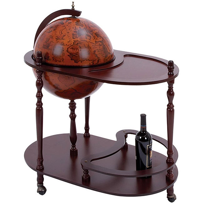 16th Century Style Wood Globe Bar/ Tea Cart