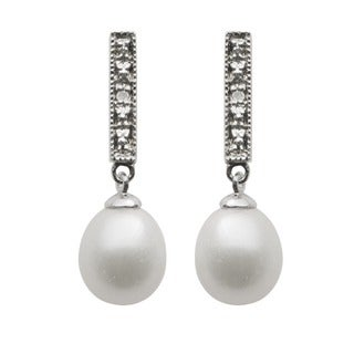 Pearls for You Silver FW Pearl and Diamond Accent Earrings (7.5-8 mm)(H-I, I2-I3)