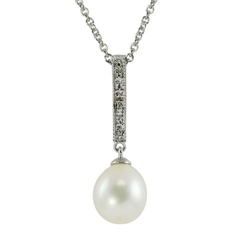 Pearls for You Silver FW Drop Pearl/ Diamond Pendant (8.5-9 mm) (H-I, 12-13)
