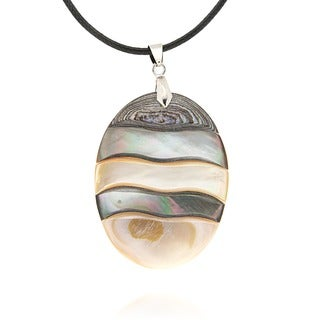 Pearlz Ocean Abalone Oval Fashion 18-inch Pendant Necklace