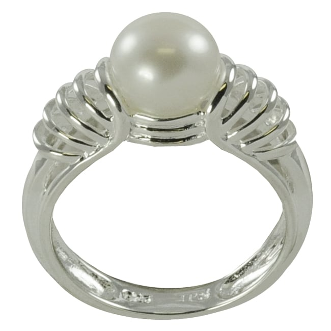 Pearls For You Silver White Freshwater Pearl Ring (8-8.5 mm)