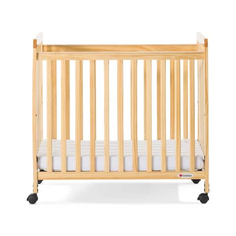 Foundations® Safetycraft® Fixed-Side Compact Baby Crib, Slatted-Natural